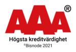 AAA, Högsta kreditvädighet. Bisnode 2021